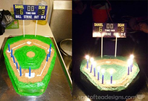 Baseball Stadium birthday cake spotofteadesigns.com