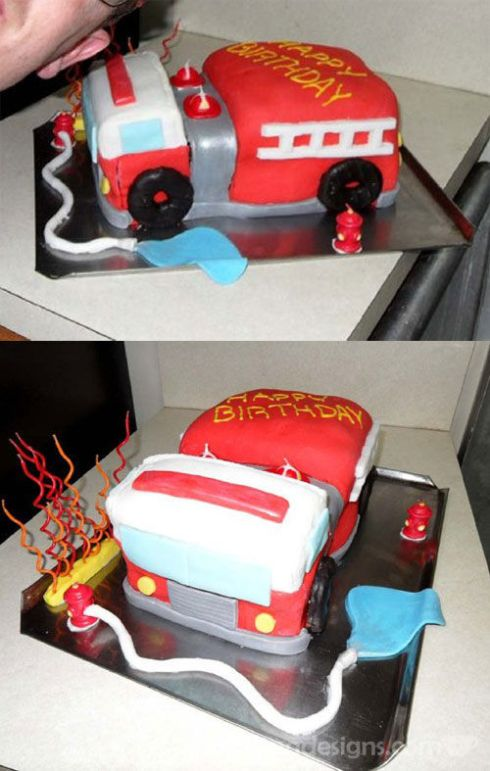 Fire Truck Birthday Cake spotofteadesigns.com
