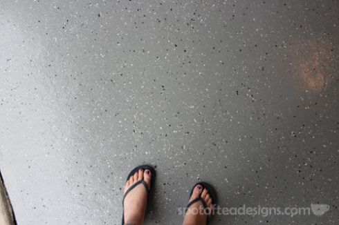 Garage Makeover: Paint Flecked Floor | spotofteadesigns.com