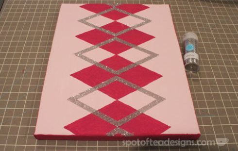 Nursery Canvas Art Argyle Glitter - spotofteadesigns.com