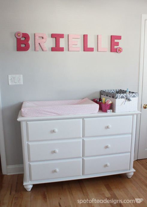 Pink, White and Grey Baby Girl Nursery: Yarn Wrapped Letters | spotofteadesigns.com