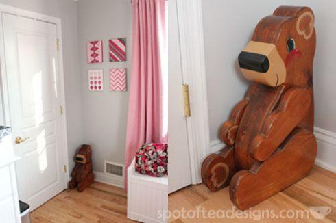 Pink, Gray and White Modern Baby Girl Nursery: Bear Bank | spotofteadesigns.com