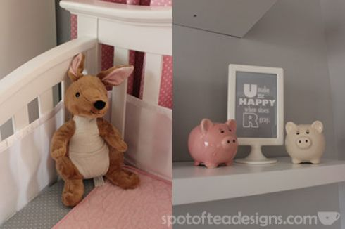 Pink, Gray and White Modern Baby Girl Nursery: Details | spotofteadesigns.com