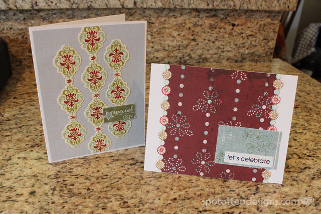 handmade birthday cards using christmas adhesive border stickers | spotofteadesigns.com