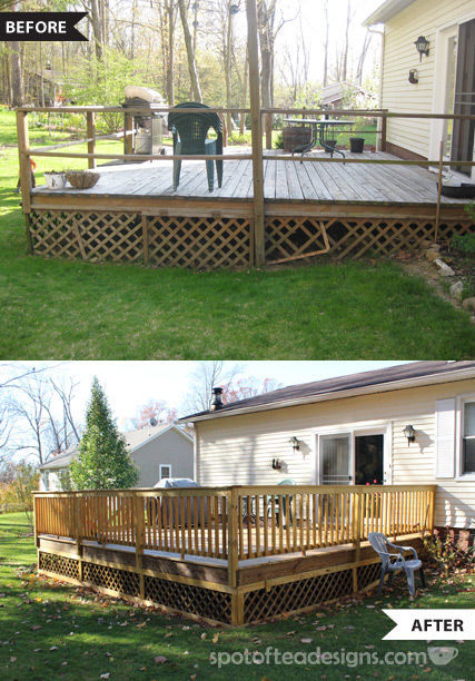 Deck Makeover Tutorial Before and After | spotofteadesigns.com