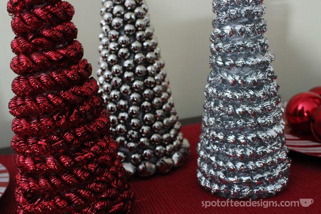 DIY Holiday Cones from Dollar Store Supplies | spotofteadesigns.com
