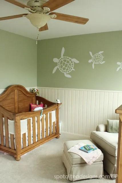 Gender Neutral Sea Turtle Baby Nursery Reveal: Greens, creams and light browns | spotofteadesigns.com