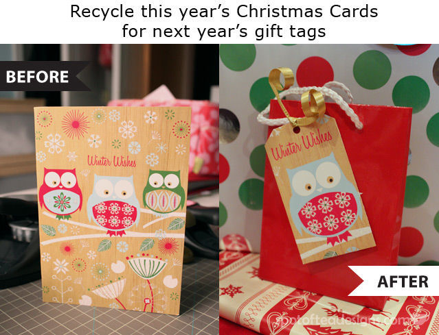 Recycle this year's stash of Christmas Cards and make next year's gift tags with just a few craft punches | spotofteadesigns.com