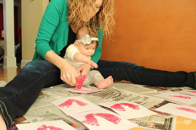 Baby Footprint Valentine's Day Cards | spotofteadesigns.com