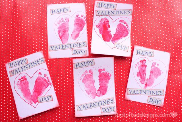 Baby Footprint Valentines Tutorial | spotofteadesigns.com