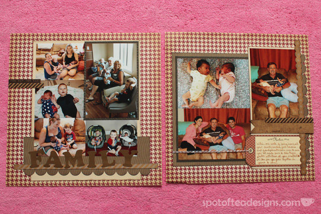 Baby Scrapbook layout: Two page spread about Family | spotofteadesigns.com