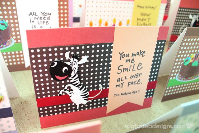 Handmade Card Set featuring Inkadinkado kid quote stamps | spotofteadesigns.com