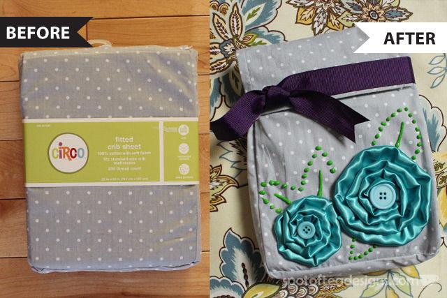 Crib Sheet Fabric Bag Converted into decorative giftbag as seen on Favecrafts.com | spotofteadesigns.com