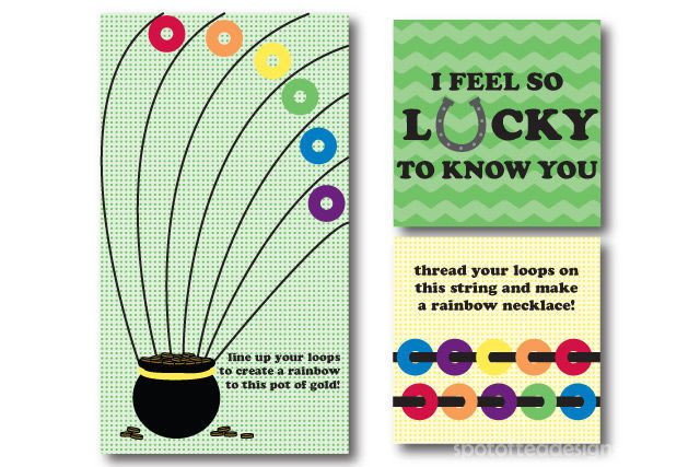 St. Patrick's Day Free Printable featuring two kids crafts using rainbow cereal pieces | spotofteadesigns.com