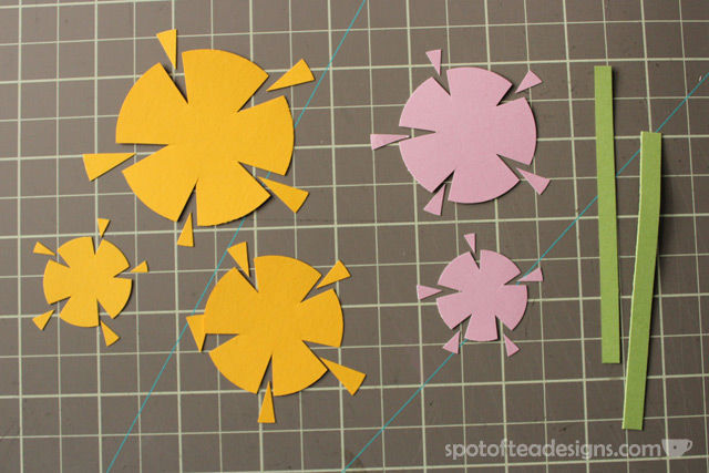 """""""Thank you very much"""" handmade card using circle punches cut into floral shapes 