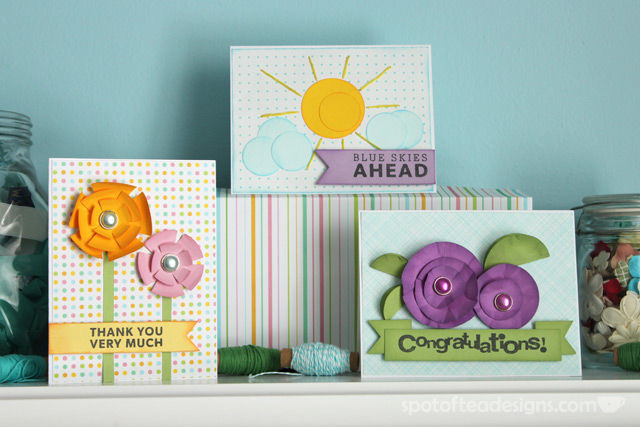 Three Handmade cards using circle punch techniques | spotofteadesigns.com
