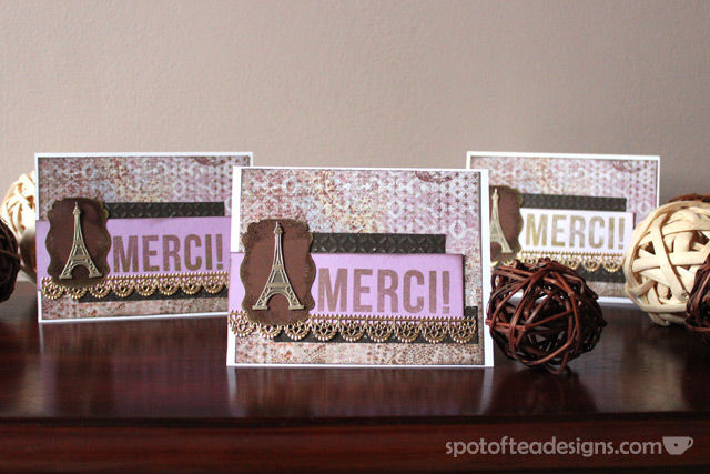 """Use Your Stash Challenge: Handmade Thank You """"Merci"""" cards using Jolee's By You Embellishments   spotofteadesigns.com"""