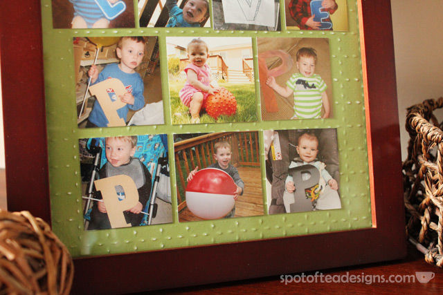 """Father's Day Gift for Grandfather: """"we love pop pop"""" frame with each grandkid holding letters 