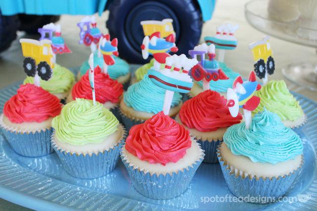 Transportation Themed Baby Shower Cupcakes | spotofteadesigns.com