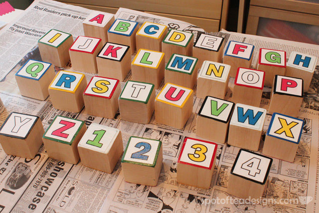 Baby Shower Activity Tutorial: Paint your own ABC blocks | spotofteadesigns.com