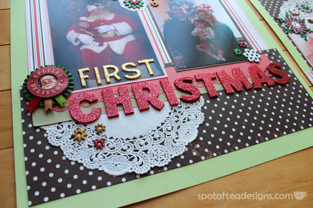 Baby's First Christmas Two Page layout Doily accent | Spotofteadesigns.com