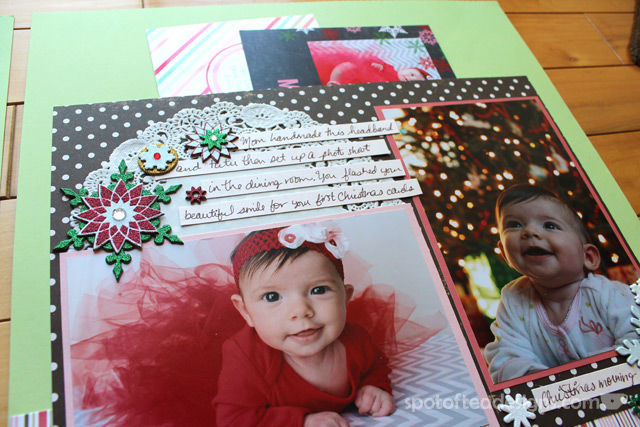 Baby's First Christmas Two Page layout: Pocket for Family Christmas cards | Spotofteadesigns.com