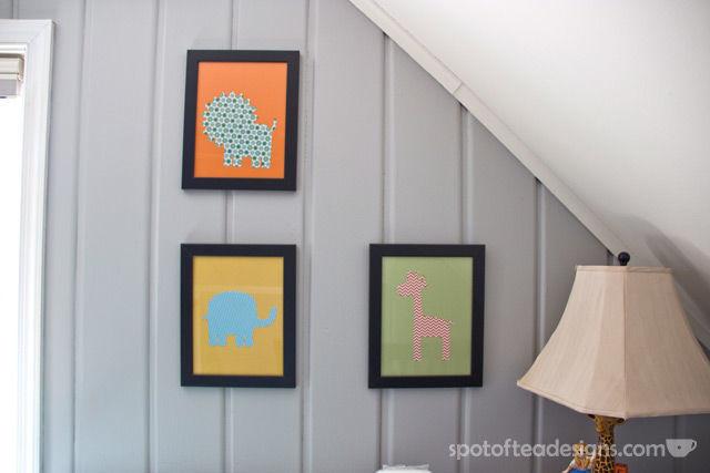 Gender Neutral Modern Animal #Nursery: DIY Animal silhouette wall art | spotofteadesigns.com