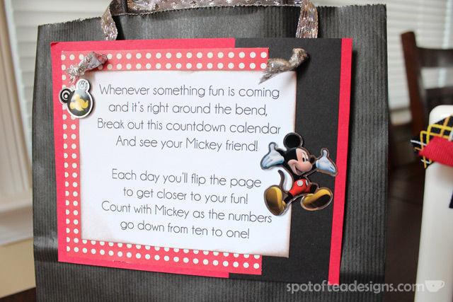 #Disney themed Countdown Calendar: Poem explains gift | spotofteadesigns.com