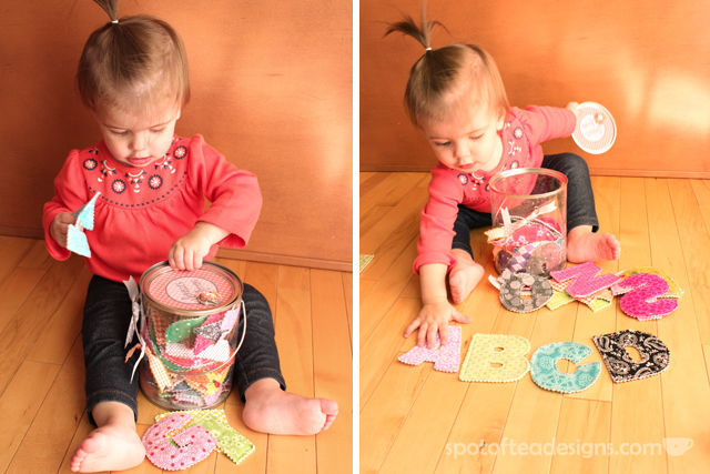 Handmade #Baby #Gift: Fabric Letters in a bucket | spotofteadesigns.com