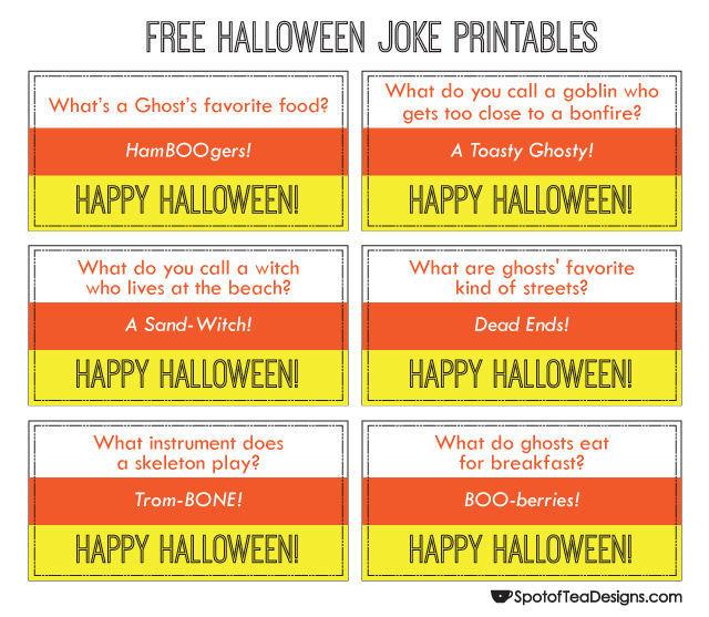Free #Printable #Halloween Jokes   spotofteadesigns.com