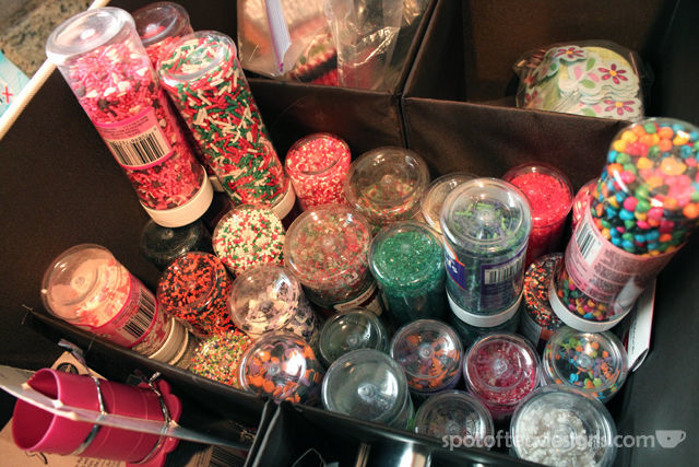 Tip: Store sprinkle containers upside down so you can see what's inside in your supply bin | spotofteadesigns.com