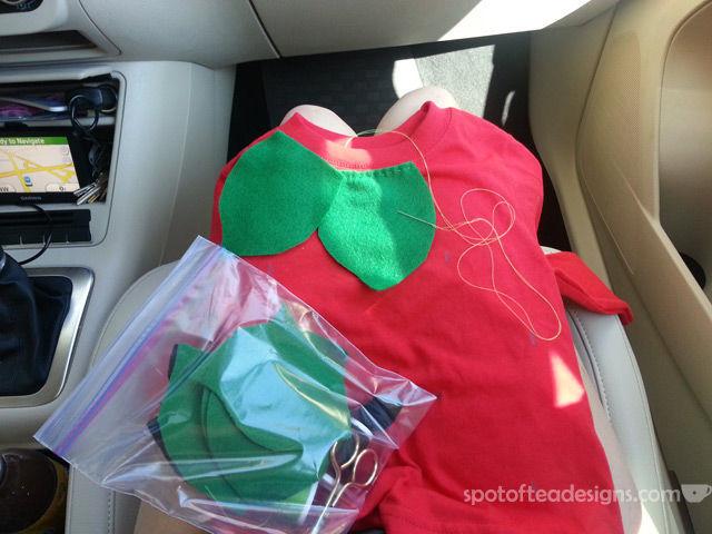 DIY Strawberry Toddler #Halloween Costume: In Progress Shot (working in the car) | spotofteadesigns.com