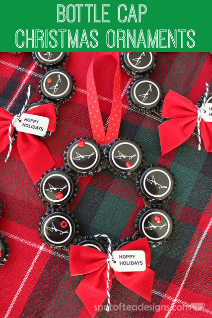 Bottle Cap Christmas Ornament Wreath #gift #christmas #ornament   spotofteadesigns.com