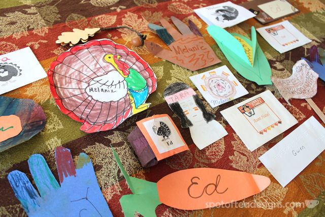 Kid made thanksgiving place cards | spotofteadesigns.com