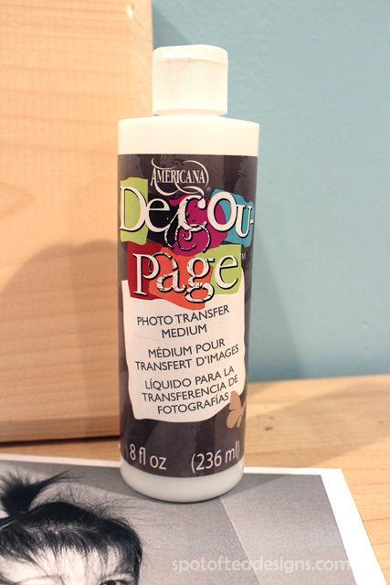 Wood Photo Transfer Gift using @DecoArt DecouPage | spotofteadesigns.com