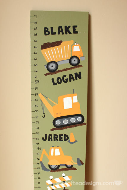 Construction Truck Themed Growth Chart using @DecoArt_Inc Paints | spotofteadesigns.com