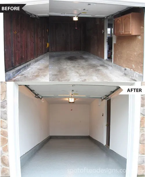 Garage Makeover Part 1: turning a dingy garage into a clean, white space! | spotofteadesigns.com