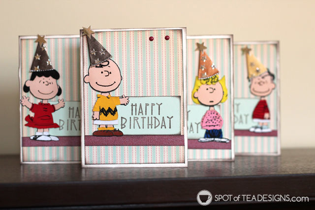 Use your stash challenge: Add party hat stickers to any character stickers to turn them into #handmade #birthday #cards. | spotofteadesigns.com