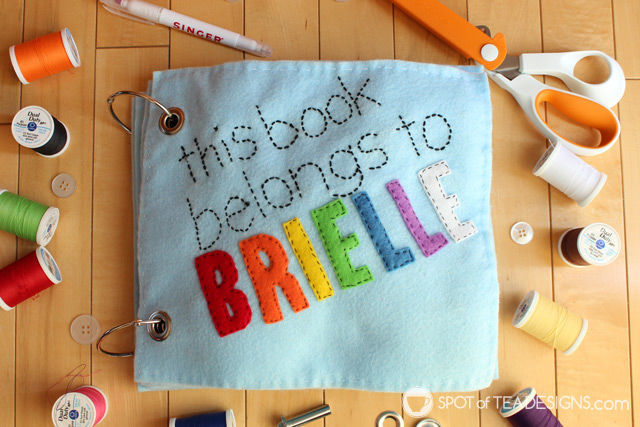 Under the sea themed felt quiet book for a toddler named Brielle. Includes free templates!   spotofteadesigns.com