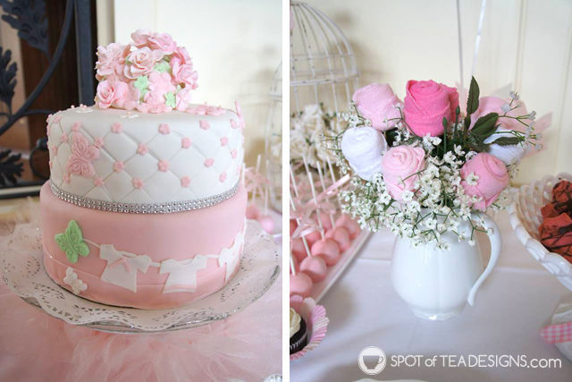 Sweet and Feminine Girl #BabyShower #Party Dessert Table details | spotofteadesigns.com