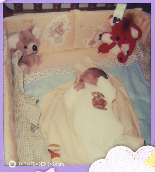 Childhood safety then & now - In 1982 cribs included fabric bumpers, stuffed animals and blankets, all things that are not suggested now. |spotofteadesigns.com