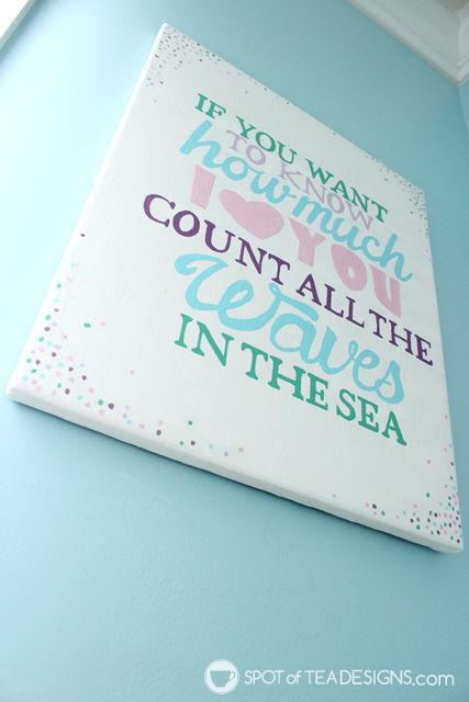 Under the Sea #Nursery Wall art Quote using @DecoArt_Inc Americana Acrylic Paint | spotofteadesigns.com