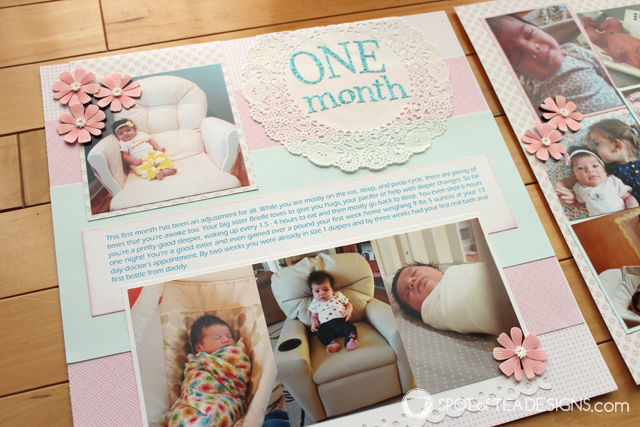 Hailey's First Year - Baby #Scrapbook - Month 1 | spotofteadesigns.com