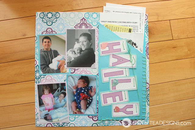 Hailey's First Year - Baby #Scrapbook - Birth Day with pocket page for journaling and hospital mementos | spotofteadesigns.com