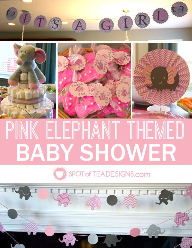 Adorable Pink elephant themed #babyshower for a mom to be | spotofteadesigns.com