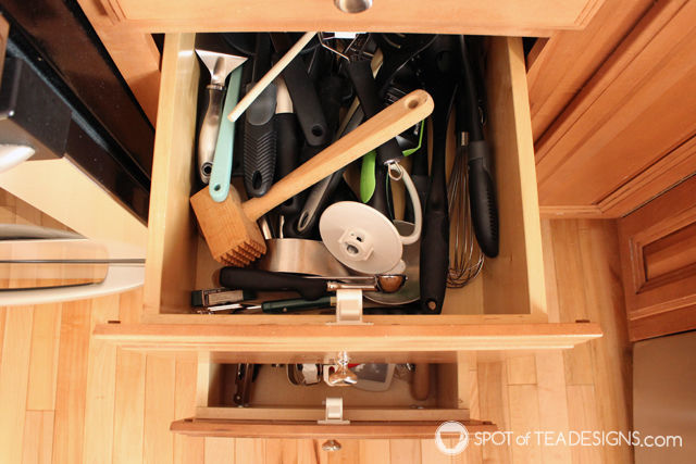 DIY Deep Kitchen Drawer Separators - before shot | spotofteadesigns.com