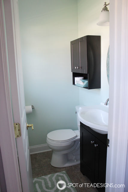 Powder Room Makeover - featuring before and after photos! | spotofteadesigns.com