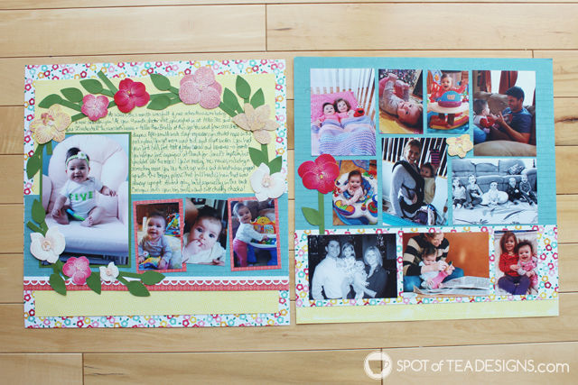Baby's first year #scrapbook - month 5 | spotofteadesigns.com