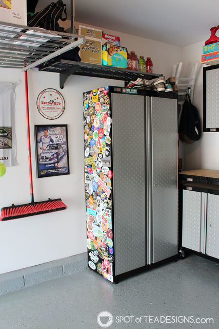 Take a tour of a clean and organized garage complete with resources on products used. #organization #garage #mancave   spotofteadesigns.com