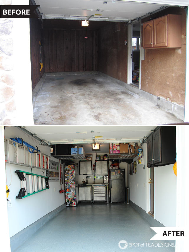 Take a tour of a clean and organized garage complete with resources on products used. Before and after #organization #garage #mancave | spotofteadesigns.com
